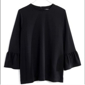 Madewell Black Bell Sleeve Blouse Top Keyhole S